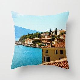 Limone Sul Garda Lake Garda Italy photo painting  Throw Pillow
