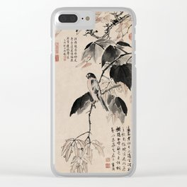 Ink Painting Calligraphy, Bird and Phoenix Tree, Wutong, Ming Dynasty, Hand Drawing Ancient Painting Clear iPhone Case