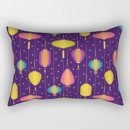 Glowing lanterns in the night sky pattern Rectangular Pillow