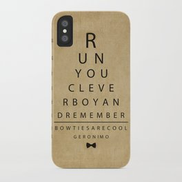 Run You Clever Boy - Doctor Who Inspired Vintage Eye Chart iPhone Case