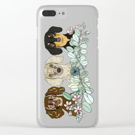 Triple Dachshunds Floral Clear iPhone Case