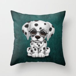 Dalmatian Puppy Wearing Reading Glasses on Blue Throw Pillow