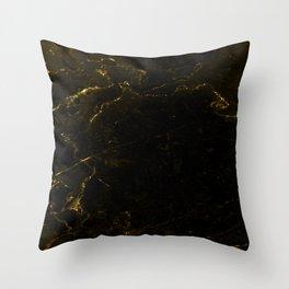 Black Gold Marble Throw Pillow