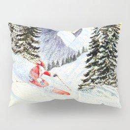 Merry Christmas with Skiing Santa Pillow Sham