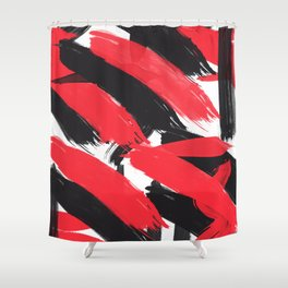 Modern Abstract Black Red Brush Strokes Pattern Shower Curtain