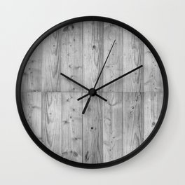 Wood Planks in black and white Wall Clock