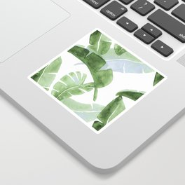 Tropical Leaves Green And Blue Sticker