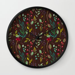 chalkboard watercolor wildflowers Wall Clock