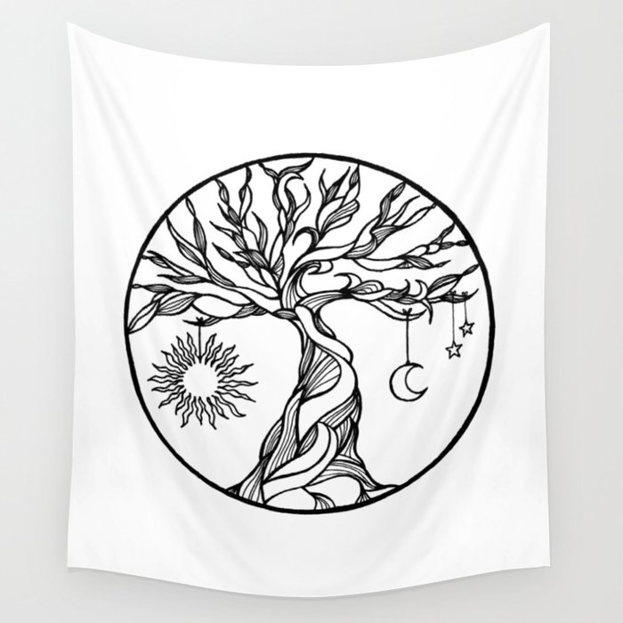 Black And White Tree Of Life With Hanging Sun Moon And Stars I Wall Tapestry By Vikkart
