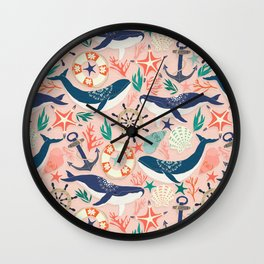 Whale Song on Coral Blush Wall Clock