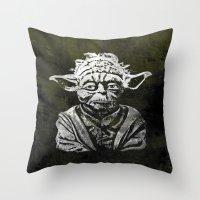 yoda Throw Pillows featuring Yoda by Some_Designs