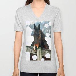 Thoughtful Horse Unisex V-Neck