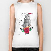 ship Biker Tanks featuring ship by mark ashkenazi