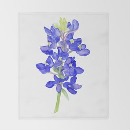 Bluebonnet Watercolor Throw Blanket