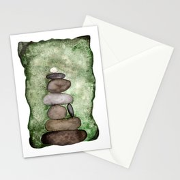 Watercolor Earth Tones Cairn On Mossy Green  Stationery Cards