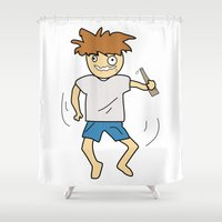 drunk Shower Curtains featuring Drunk by justang8