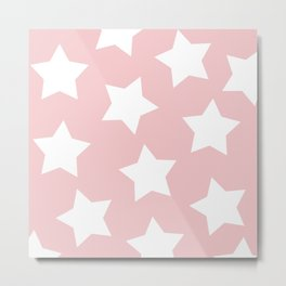 Happy Pink Star Print Metal Print