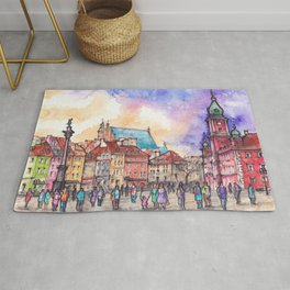 Warsaw ink and watercolor illustration Rug