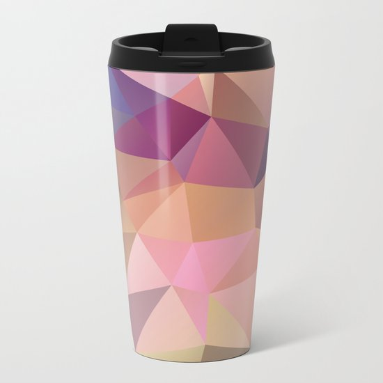 Abstract of triangles polygon in multicolor Metal Travel Mug