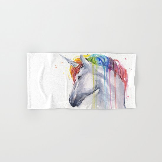 Rainbow Unicorn Watercolor Animal Magical Whimsical Animals Hand & Bath Towel