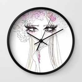 Floral girl Portrait Wall Clock