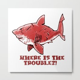 great white shark cartoon with text red tint Metal Print