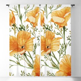 California Poppies - Watercolor Painting Blackout Curtain