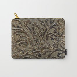 Olive & Brown Tooled Leather Carry-All Pouch