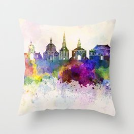 Leiden skyline in watercolor background Throw Pillow