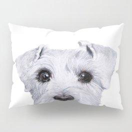 Schnauzer White Dog original painting print Pillow Sham