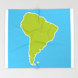 South America map blue ocean and green continent. Vector illustration Throw Blanket