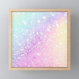 Pretty Pastel Colorful Glitter Bokeh Gradient Framed Mini Art Print
