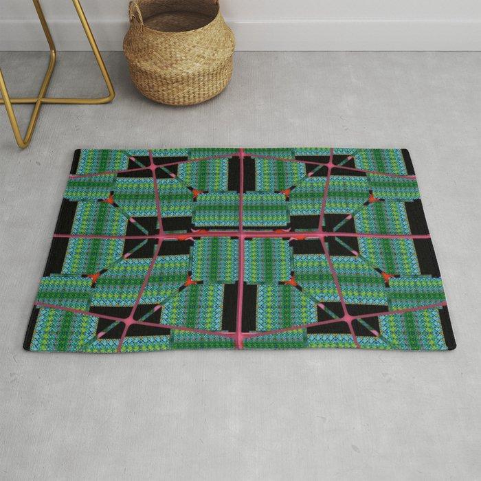 no. 344 green black red pattern Rug