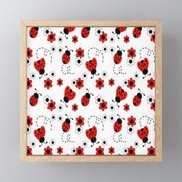 Red Ladybug Floral Pattern Framed Mini Art Print