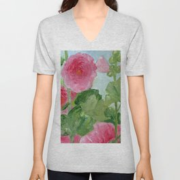In the Pink Hollyhock Oil Painting Unisex V-Neck