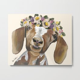 Goat Art, Flower Crown Goat Metal Print