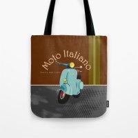 moto Tote Bags featuring Moto Italiano by DavidERobinson