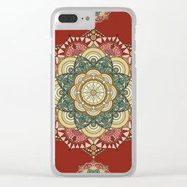Red, green and gold mandala Clear iPhone Case