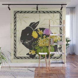 Bunny with Spring Flowers Wall Mural