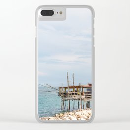 Typical trabucco in a new day on the Adriatic coast in spring Clear iPhone Case