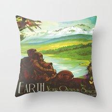 Earth Retro Space Poster Throw Pillow