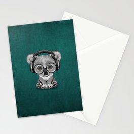 Cute Baby Koala Bear Dj Wearing Headphones on Blue Stationery Cards