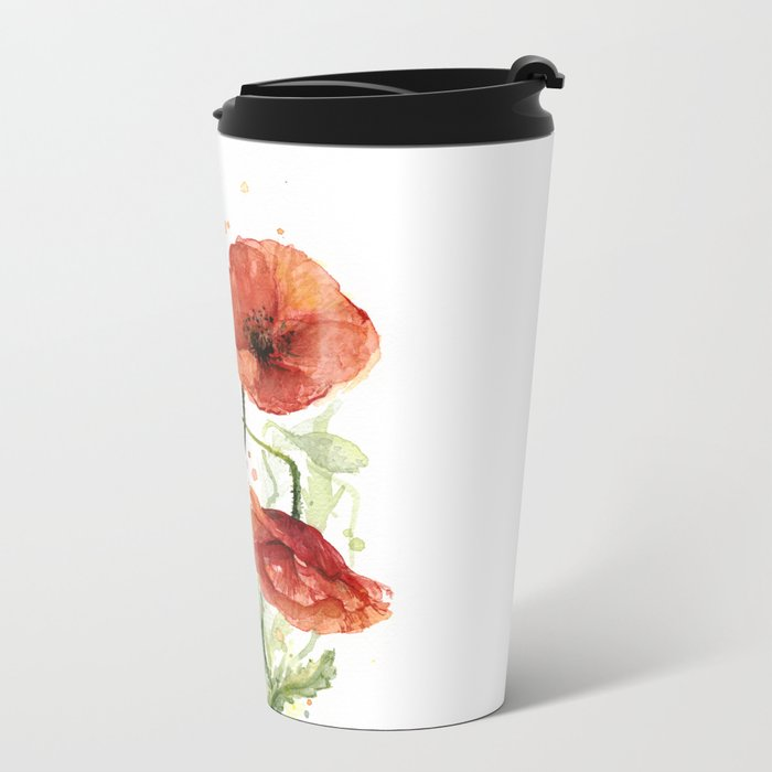 Red Poppies Watercolor Flower Floral Art Metal Travel Mug