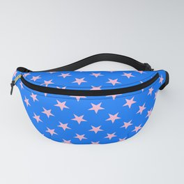 Cotton Candy Pink on Brandeis Blue Stars Fanny Pack