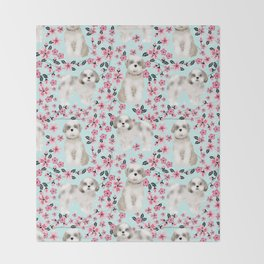 Shih Tzu dog breed florals pattern cherry blossom spring pet friendly gifts Throw Blanket