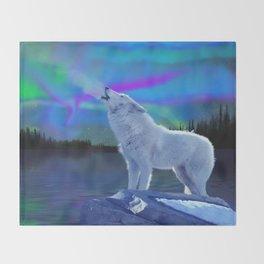 Arctic Prayer - White Wolf and Aurora Throw Blanket