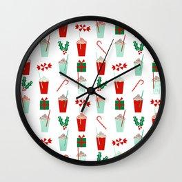 Minimal christmas peppermint latte christmas coffee cafe kitchen foodie pattern print mistletoe Wall Clock