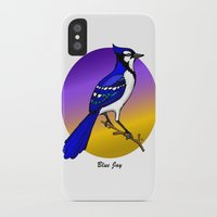 jay fleck iPhone & iPod Cases featuring BLUE JAY by SCREAMNJIMMY