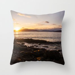 Summer Sunset Over Water Vancouver, British Columbia, Canada Throw Pillow