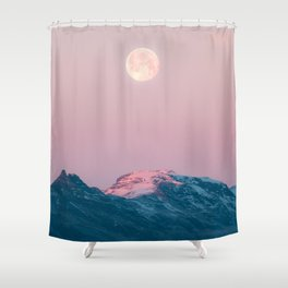 Moon and the Mountains – Landscape Photography Shower Curtain